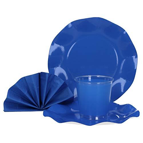 MamboCat 40-TLG. Einweggeschirr Party-Set Kobalt Blau | Pappgeschirr für 10 Personen: Pappteller + Becher + Servietten | für Festliche Anlässe und Partys - Kobalt-boden
