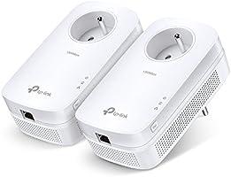 TP-Link CPL AV 1300 Mbps (Super rapide), 1 Port Ethernet Gigabit, Prise Intégrée, Pack de 2 CPL (TL-PA8015P KIT)
