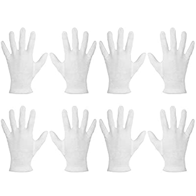 Mudder 4 Pairs Cotton Moisturizing Gloves Cosmetic Hand Spa Gloves Moisture Enhancing Gloves for Dry Hands, Eczema, White