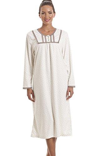 Camille - camicia da notte classica a manica lunga in pile -beige chiaro con pois 46/48