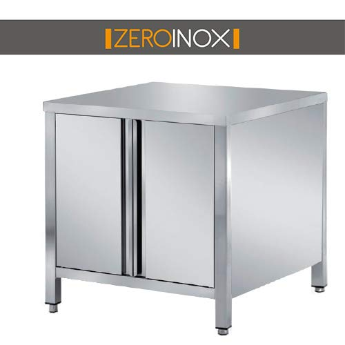 ZeroInox Tisch mit Türen, professionell, aus Edelstahl, mit Allen Maßen, Tiefe 60 cm. Küche Catering Restaurant Pizzeria Hotel