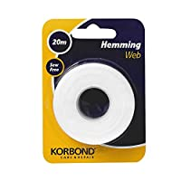 Korbond Hemming Web 20m x 2cm, Bonding and Craft Projects - NO Sewing Required- Ideal for Hems, Jeans, Work Trousers, Badges & School Clothes