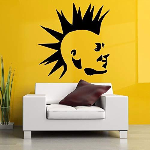 Punk Mohawk Guy Poster Adesivo da Parete Soggiorno Vinyl Art Deco Adesivo Camera da Letto Casa Poster Murale Bianco 57X60cm