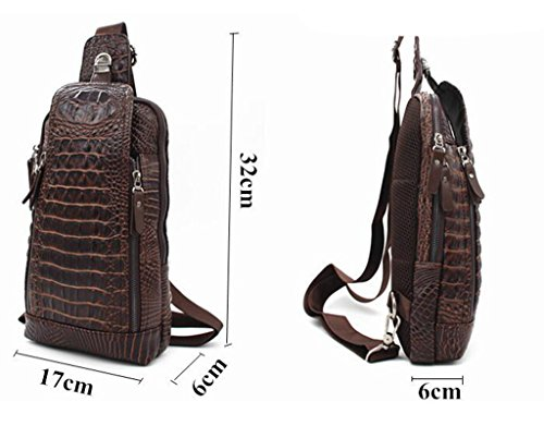 Umhängetasche Krokodil-Muster Brassiere Herren Leder Brust-Beutel-beiläufige Schulter Messenger Bag Braun