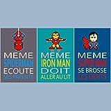 3 affiches superhéros avec citation, spiderman