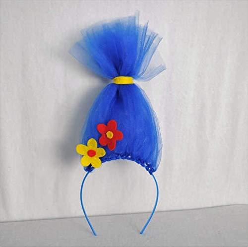 en Trolle Inspiriert Haar Stirnband Für Mädchen Mohn Blume Stirnband Perücke Rosa Tüll Haarband Regenbogen Troll Kostüm Cosplay (Color : Color) ()