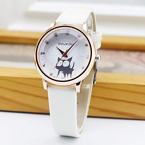 t Tabelle weibliche Uhr Katze weiß klein + Uhrenbox ()