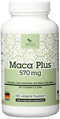 Vita 1 Maca Plus 570 mg 180 Kapseln (6 Wochen Vorrat) mit Vitamin C & Znk, 126 g -