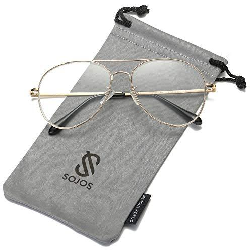 SOJOS Mode Metallrahmen Verspiegelt Linse Herren Damen Sonnenbrille mit Frühlings Scharnieren SJ1030 mit Gold Rahmen/Klar Linse