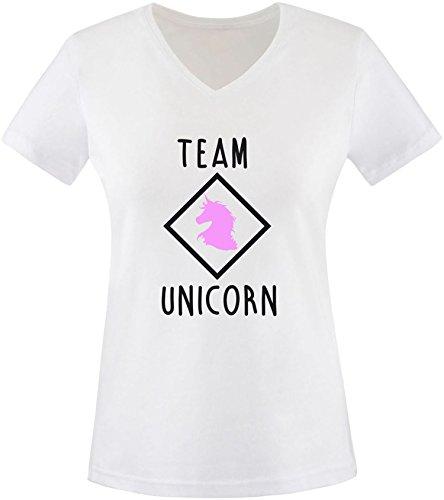 EZYshirt® Team Unicorn Damen V-Neck T-Shirt Weiss/Schwarz/Rosa