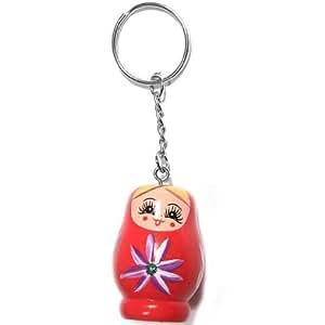 Porte clefs en bois peint motif poupée russe matriochka rouge