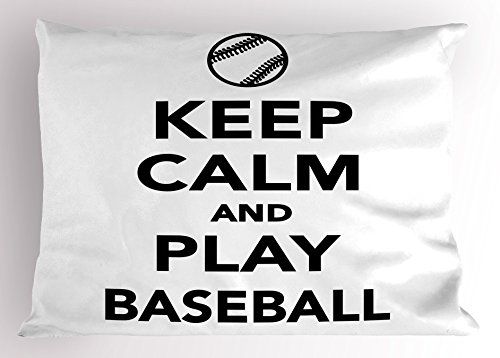 Ambesonne keep calm pillow sham by frase, play baseball sports theme con la palla figura monocromatico pittogramma, decorative standard king size federa stampata, nero bianco 26