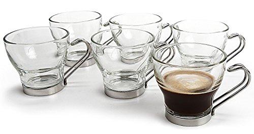 6 X Lunettes de tasse à café Espresso avec poignées en acier inoxydable 10 cl (3 œ oz)
