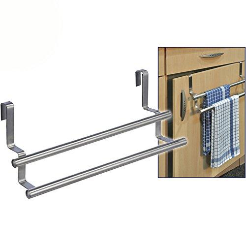 Preisvergleich Produktbild Handtuchhalter für Küchenschränke Tür etc. für 2 Handtücher, 40 x 14 cm • Küche doppelt Handtuchstange Türhandtuchhalter ohne Bohren