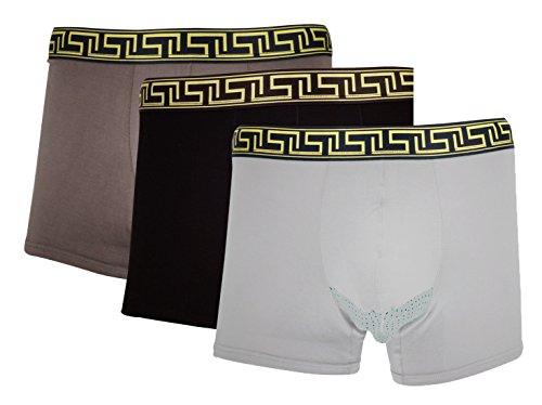 Feoya Herren Boxershorts Bequeme Atmungsaktive Unterhosen 3 Stück Pack Speziell für Männerunterkörper Größe L-3XL Schwarz + Braun + Grau