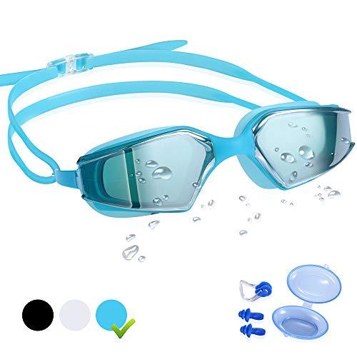 CybGene Schwimmbrillen für Erwachsene,Profi Schwimmbrille für Herren & Damen,UV-Schutz,Komfort,Anti Nebel Beschichtung,mit Freiem Aufbewahrungskoffer,Ohrstöpsel & Nasenklammer (Blau)