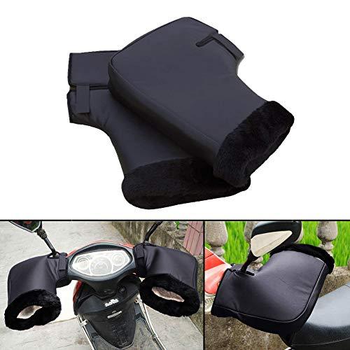 Guanti per manubrio della moto, invernali, in pelle, impermeabili, termici e protettivi, con ampio polsino
