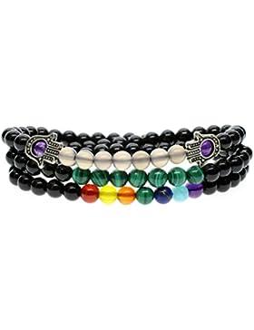 COAI® 7 Chakra Achatperlen Obsidian Grauer Achat Malachit Hamsa Hand Tibetisches Wickelarmband für Damen