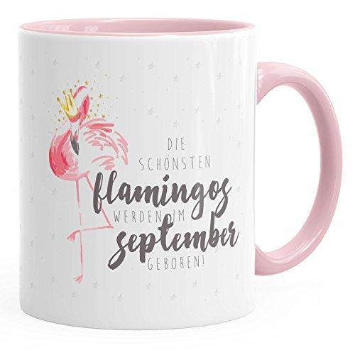 MoonWorks Geburtstags-Tasse Flamingo Krone die schönsten Flamingos Werden im September geboren Geschenk-Tasse Farbiger Henkel rosa Unisize