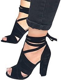 Minetom Sandalias Mujeres Verano Sandals Peep Toe Zapatos De Playa Moda Casual Elegante Shoes Tacones Altos Tacón Ancho Fiesta