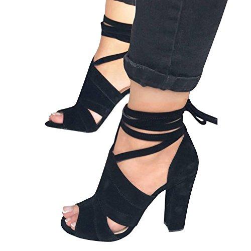 Minetom eleganti donna moda sandali da sposa tacco a spillo tacchi alti sottili block partito scarpe da sposa aperte con cordoncino b nero eu 38
