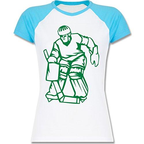 Eishockey - Eishockey - zweifarbiges Baseballshirt / Raglan T-Shirt für Damen Weiß/Türkis