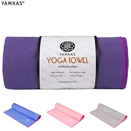 Yamkas Yoga Handtuch rutschfest | 183 x 61cm | Schnelltrocknend, Antirutsch | Yogatuch für Bikram, Ashtanga, Reise | Hot Yoga Towel Microf...