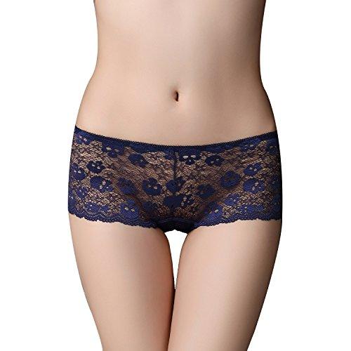 FZmix Women Underwear Briefs Women'S Panties Full Transparent Lace Seamless Women Underwear Panty Blue