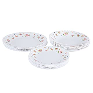 Dajar Candice Dinner Set. 18 ARCOPAL White Glass Red – Unit 31.3 x 16.1 x 29.7 cm