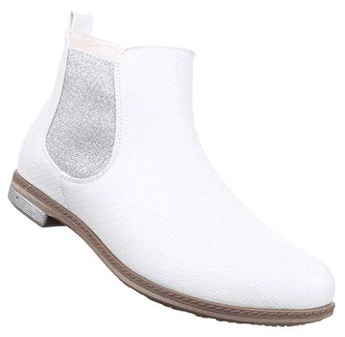 Damen Stiefeletten Schuhe Stretch Schwarz gold silber weiss 36 37 38 39 40 41 Weiß