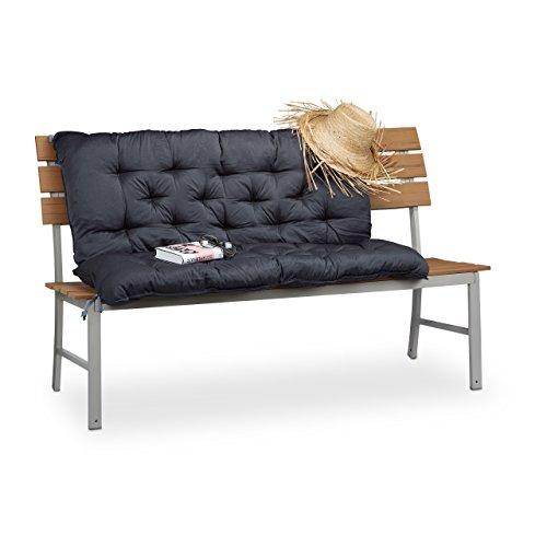 Relaxdays Bankauflage mit Rückenteil, Polsterauflage für Bänke, Rückenpolster & Sitzkissen, HBT: 10 x 119 x 96 cm, grau