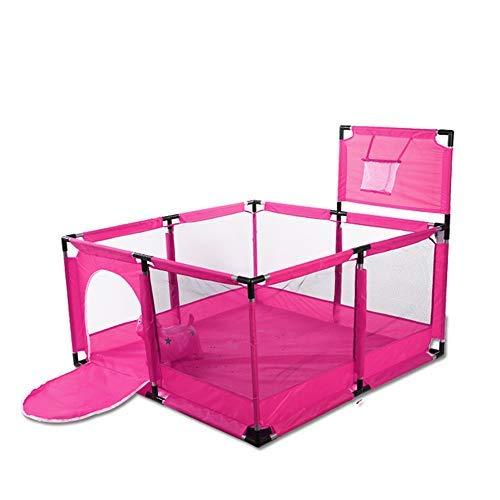 Baby-Laufgitterzaun mit Basketballkorb, großes Sicherheitstor mit Reißverschluss zum Krabbeln (Rosa) (Laufstall Baby-rosa)
