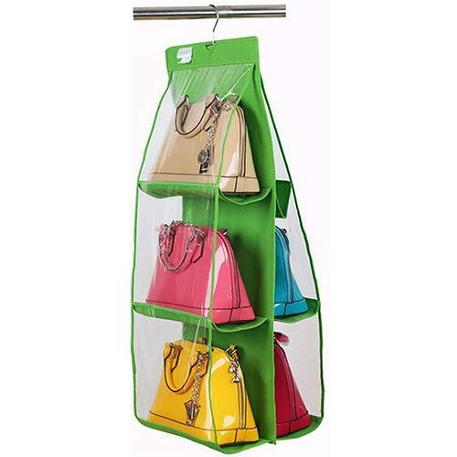 ypypiaol 6 Taschen Handtasche hängen Speicherorganisator Tasche ordentlich Kleiderschrank Kleiderbügel Grün -