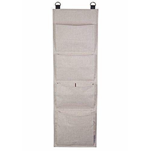 Bigso Box of Sweden Hängeregal für die Tür oder Wand - Tür Organizer mit 4 Fächern für Schuhe, Accessoires usw. - Schuhaufbewahrung aus Polyester und Karton in moderner Leinenoptik