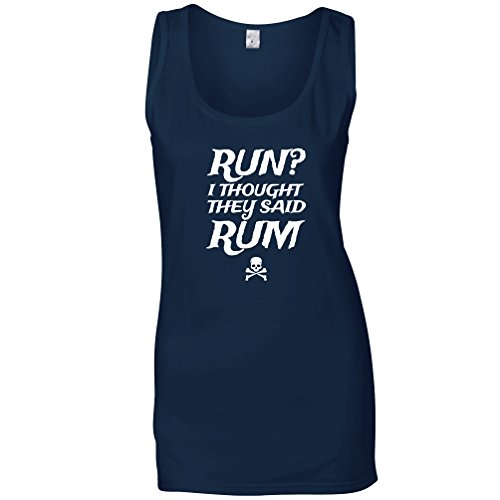 Tim And Ted Run? Womens Ladies Vest I Thought You Said Rum! Pirate Slogan Design Pun Joke Misread Alcohol Humour Bottle Skull Booze Cool Funny Gift Present