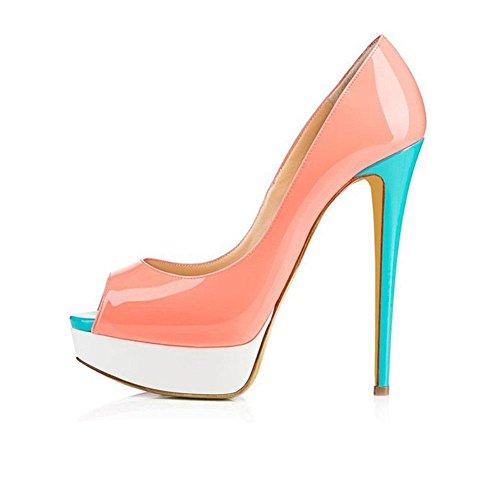 XINJING-S Bowknot High Heels Schuhe Party Hochzeit Frauen Pumps Heels OL Kleidung Schuhe Sandalen Pfirsich