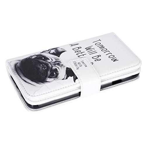 SainCat Apple iPhone 7 Custodia in Pelle,Anti-Scratch Protettiva Corpertura Caso Custodia Per iPhone 7,Elegante Creativa Dipinto Pattern Design PU Leather Flip Ultra Slim Sottile Morbida Portafoglio W carlino