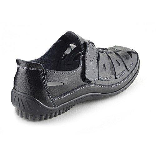 Kick Footwear - Zapatos De Mujer Walking Cómodo Top Plantilla De Cuero Genuino Zapatos Elegantes Negro (negro)