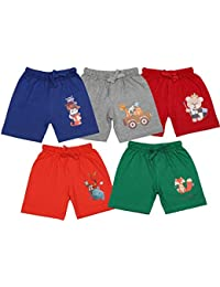 TotzTouch Softcare Cotton Fabric Cute Animal Prints Shorts for Baby Age 6 Months to 4 Years Pack of 5