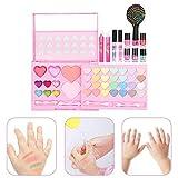 Krystallove Kinder waschbar Make-up-Set - echte Kosmetik-Set mit Blinkender Kosmetiktasche - Lidschatten-Lip Gloss-Stick - ideal für kleine Mädchen Prinzessin Geburtstagsgeschenk Geschenk