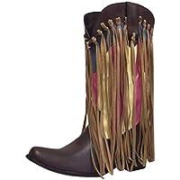 Kinlene Invierno Ofertas Borla de Color Retro para Mujer con tacón Grueso y Punta Puntiaguda Borla de Mezcla de Color para Mujer Zapatos de tacón bajo con Punta Puntiaguda Botas