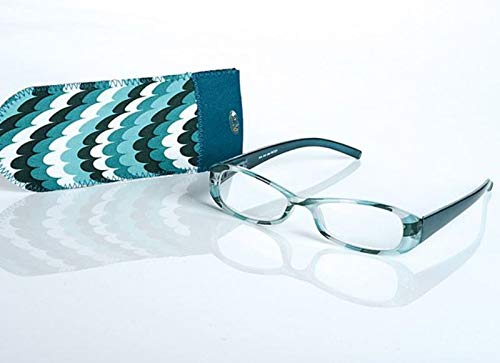 LOOK AND SEE Schicke Damen Lesebrille +3,5 grün/bunt Flexbügel Fertigbrille
