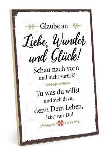 TypeStoff Holzschild mit Spruch – GLAUBE AN Wunder, Liebe UND GLÜCK – im Vintage-Look mit Zitat als Geschenk und Dekoration zum Thema Zukunft und Leben