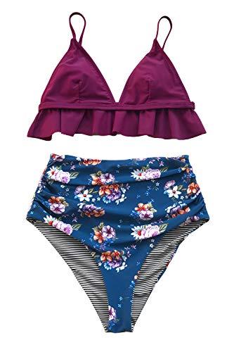 CUPSHE Pflaume und Floral Beidseitig Bikini (M, Pflaume) -