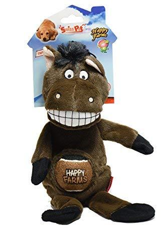 SwissPet Hundespielzeug Happy Farms Pferd, Esel, Kuh - mit Quietscher (Pferd)