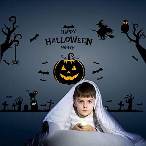 LouiseEvel215 Etiqueta engomada de la pared de la luz de la calabaza del duende de la casa encantada de Halloween para la sala de Estar de la Familia