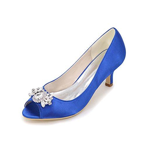 Elegant Tacchi Da Donna Primavera Estate Primavera Estate Seta Nozze Casual Party & Sera Stiletto Heel Rhinestone Sliver Rosso Blu Bianco Viola Blue