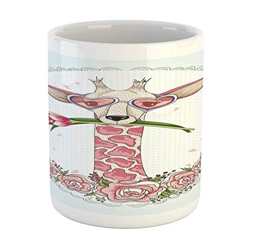 Rongpona Valentine Mug, niedliche Hipster-Giraffe mit Tulip Heart Shaped Glasses Vintage Love Frame, Bedruckte Keramik-Kaffeetasse Wasser Tee trinkt Becher, Baby Blue Pale Pink