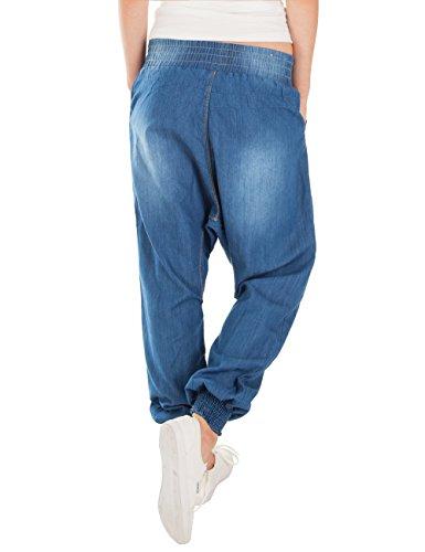 Fraternel Damen Jeans Pump Pluderhose Haremshose Loose relaxed Fit Blau