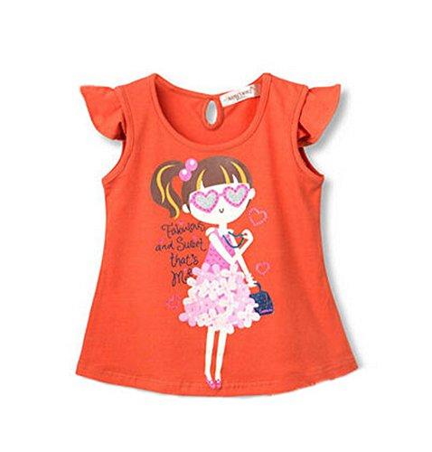 Blancho Toddler Filles T-Shirt Lovely Chemise Pour enfant - Orange - Taille Unique
